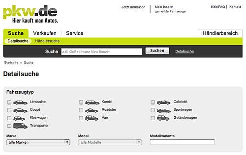 Suchmaske bei pkw.de