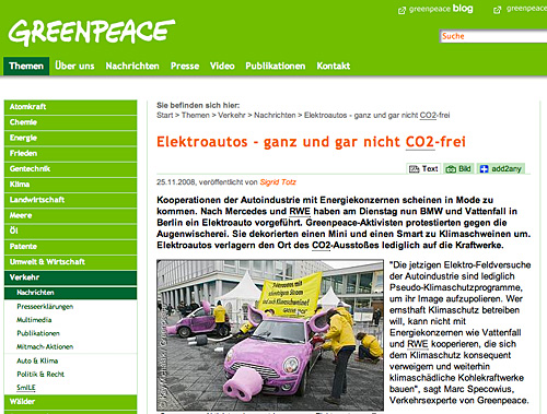 Greenpeace zu Elektroautos