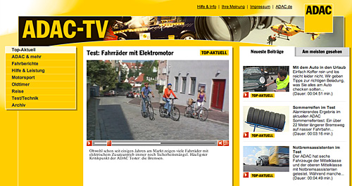 ADAC TV: Webvideo für die Tests