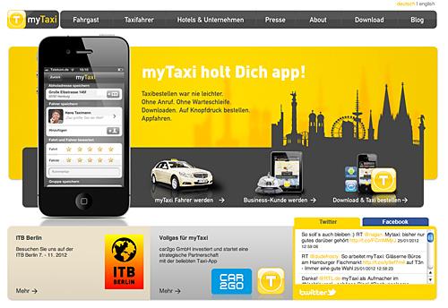 Die myTaxi App - künftig für Taxis und car2go?