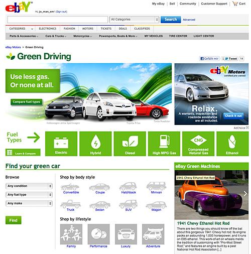 ebay green driving umweltfreundliche autos finden gr ner fahren. Black Bedroom Furniture Sets. Home Design Ideas