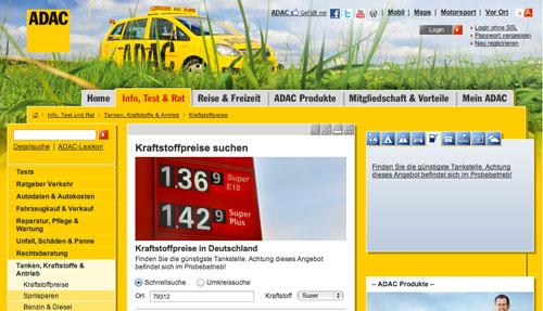 ADAC Website mit aktuellen Tankstellenpreisen