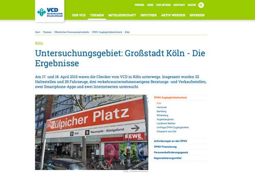 Zugänglichkeit des ÖPNV in Köln, untersucht vom VCD