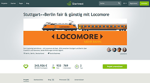 Locomore: Crwodfunding-Aktion bei Startnext