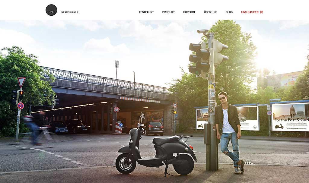 Früh dabei: Das Projekt Unu brachte E-Scooter übers Internet in den Markt.